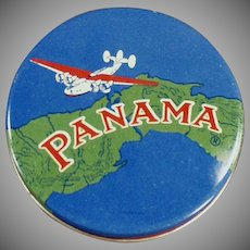 Vintage Panama Typewriter Ribbon Tin - Colorful Round Tin with Screw Off Lid