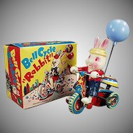 Vintage Wind Up Toy - Celluloid Rabbit on Tin Tricycle with Original Box