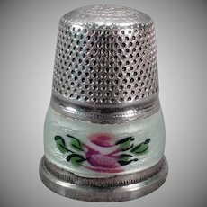 Vintage Sewing Thimble – Sterling Silver & Guilloche Enamel - Germany