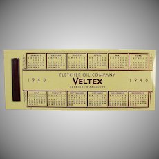Vintage Celluloid Advertising Blotter - Veltex Fletcher Oil Advertising and 1946 Calendar