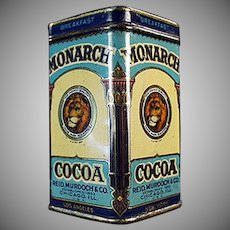 Vintage Sample Cocoa Tin-  Monarch Breakfast Cocoa Free Sample Tin - Nice Graphics