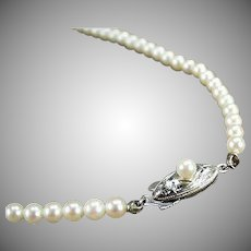 Vintage String of Pearls - Graduated Cultured Pearls - Single Strand with Silver Clasp