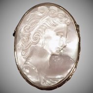 Vintage Carved Mother of Pearl Cameo Pin - Iridescent White Cameo