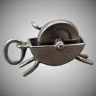 Sterling Silver Vintage Charm – Wet Stone Grinder - Knife Sharpener Charm - Moveable