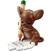 Vintage Josef Original Mouse Figure – Mouse with Pencil – I Love You Note
