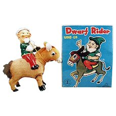 Vintage Wind Up Toy - Christmas Elf on Donkey - Dwarf Rider with Original Box