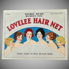 Vintage Lovelee Hair Net Package with Net- Beautiful Graphics - 1920 Hair Styles