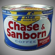 Vintage Key Wind Coffee Tin - Old Chase & Sanborn 1 Pound Coffee Tin