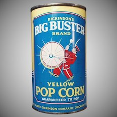 Vintage Popcorn Tin - Big Buster Pop Corn - Full, Unopened Tin
