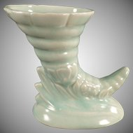 Vintage Cornucopia Vase - Small Pale Green Pottery Vase - Mid Century Decor