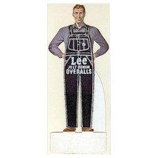 Vintage Paper Die Cut Advertising - Lee Denim Overalls Advertising