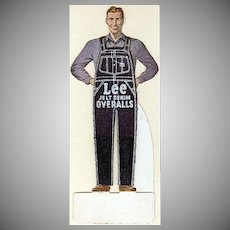 Vintage Paper Die Cut Advertising - Lee Denim Overalls Advertising