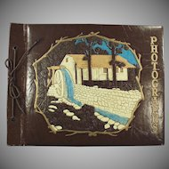 Vintage Photograph or Scrap Book with Decorative Waterwheel on Cover
