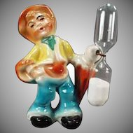 Vintage Egg Timer - Figural Porcelain Peasant Boy - Germany