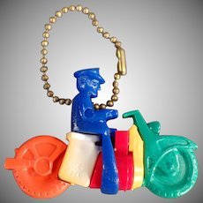 Vintage Puzzle Key Chain - Motorcycle Toy with Original Instructions