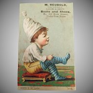 Vintage Trade Card - San Francisco Boot and Shoe Business at Russ House