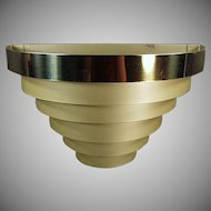 Vintage Light Fixture - Tiered Banded Metal Electric Wall Sconce