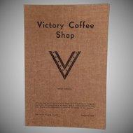 Vintage Menu from the Victory Coffee Shop of Reno Nevada - WWII Memorabilia