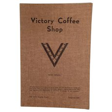 Vintage Menu from the Victory Coffee Shop of Reno Nevada - WWII Memorabilia