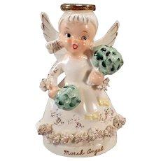 Vintage March Angel Figure with Irish Shamrock Bouquets