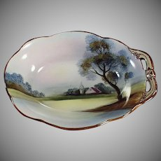 Vintage Hand Painted Noritake Dish with Single Handle