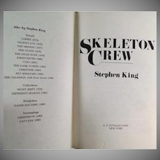 Vintage Book - Skelton Crew by Stephen King - 1985 Hardbound Edition
