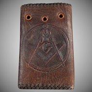 Vintage Masonic Memorabilia - Leather Car Key Case with the Masonic Emblem
