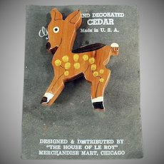 Vintage Deer Pin - Hand Painted Cedar Pin - Spotted Deer - Add Fun to a Suit Lapel
