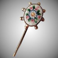 Vintage Stickpin – Micro Mosaic Floral in 800 Silver Mount