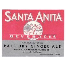 Old Paper Soda Bottle Label - Santa Anita Beverages with Horse Jockey