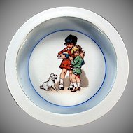 Vintage Baby Plate - Child's Feeding Dish - Children and Dog - Made in Germany