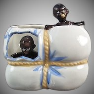 Vintage Black Memorabilia - Black Babies in Cotton Bale Porcelain Whimsy