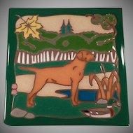 Vintage Hand Painted Ceramic Tile - Hunting Dog, Vivid Colors - Masterworks Art Tile