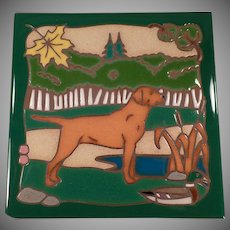 Vintage Hand Painted Ceramic Tile - Hunting Dog, Vivid Colors - Masterworks Art Tile