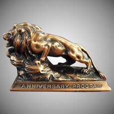 Vintage Paperweight - Lion International Advertising Paperweight