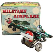 Vintage Marx Wind-up Toy - Mechanical Military Airplane with Original Box