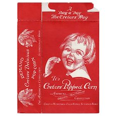 Vintage Popcorn Box - Cretor's Popcorn with Happy Child's Face