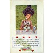 Vintage Valentine Postcard – Life Comic Series – Prim and Proper Glamour Girl