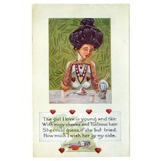 Vintage Valentine Postcard – Life Comic Series – Prim and Proper Glamour Girl