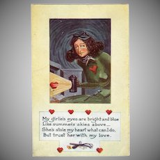 Vintage Valentine Postcard – Life Comic Series – Detective Girl
