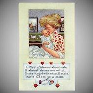 Vintage Valentine Postcard – Life Comic Series – Woman and Sweet Baby