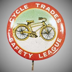 Vintage Advertising Pin Back Button - Bicycle Safety Pinback with Nice Graphics