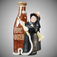 Vintage Schafer & Vater Flask - Fireman with Fire Water Nip