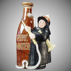 Vintage Schafer & Vater Figural Flask - Fireman with Fire Water S & V Nip