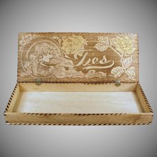 Vintage Pyrography Box - Wood Burned Art Nouveau Design Tie Box