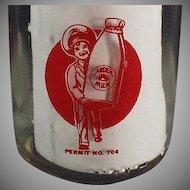 Vintage Milk Bottle - Half Pint Bottle w- Pyroglazed Advertising - Arden Farms