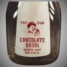 Vintage Milk Bottle -  Half Pint Chocolate Milk Bottle w- Pyroglazed Advertising - Romney Dairy