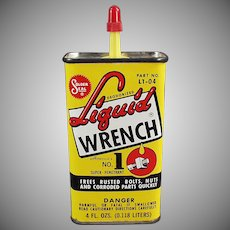 Vintage Liquid Wrench Tin - Colorful Old Advertising Oil Tin