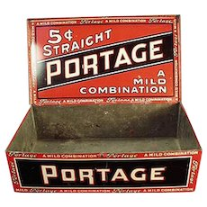 Vintage Tobacco Tin - Portage Cigars - Old Counter Display Tin