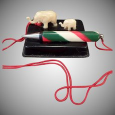 Vintage Miniature - Celluloid Elephants – Unique Old Pencil Holder – Japan